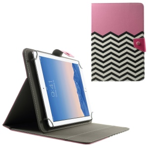 Universal Leather Stand Case for 10.1-Inch / 9.7-Inch Tablet, Size: 279 x 180mm - Pink Chevron Pattern