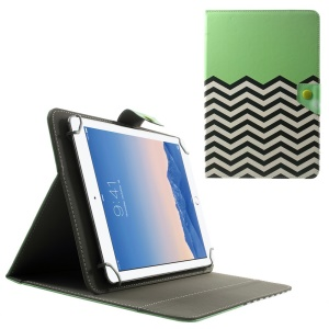 Universal Leather Stand Case for 10.1-Inch / 9.7-Inch Tablet, Size: 279 x 180mm - Green Chevron Pattern