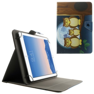 Universal Leather Cover for 10.1-Inch / 9.7-Inch Tablet w/ Stand , Size: 279 x 180mm - Triple Owls