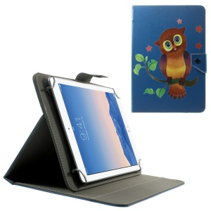 Universal Leather Shell for 10.1-Inch / 9.7-Inch Tablet w/ Stand , Size: 279 x 180mm - Owl on the Branch