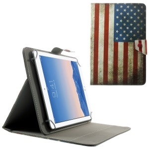 Universal Leather Case Shell for 10.1-Inch / 9.7-Inch Tablet w/ Stand , Size: 279 x 180mm - Vintage American Flag