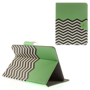 Green Chevron Stripes Universal Leather Stand Cover for iPad mini 2 3 / Samsung Galaxy Tab T310 T330 Etc, Size: 21.5 x 14cm