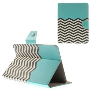 Blue Chevron Stripes Universal Leather Shell Stand for iPad mini 2 3 / Samsung Galaxy Tab T310 T330 Etc, Size: 21.5 x 14cm