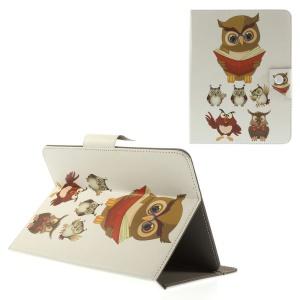 Owl Teacher & Students Universal Leather Case for iPad mini 2 3 / Samsung Galaxy Tab T310 T335 Etc, Size: 21.5 x 14cm