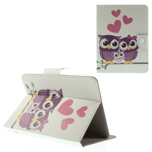 Love Owl Family Universal Leather Tablet Case for iPad mini 2 3 / Samsung Galaxy Tab T310 T335 Etc, Size: 21.5 x 14cm