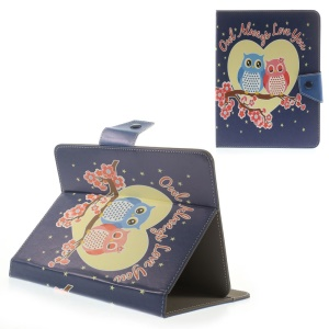 Love Owl Couple Universal Leather Case for iPad mini 2 3 / Samsung Galaxy Tab 8.0 T335 Etc, Size: 21.5 x 14cm