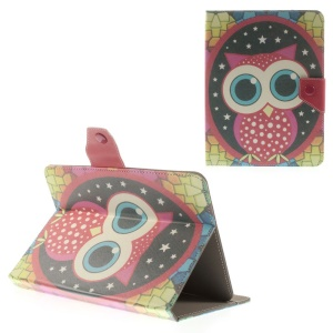 Red Owl & Stars Universal Leather Stand Shell for iPad mini 2 3 / Samsung Galaxy Tab 4 8.0 T330 Etc, Size: 21.5 x 14cm