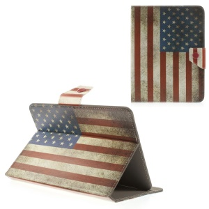 Retro USA Flag Universal Leather Case Stand for iPad mini 2 3 / Samsung Galaxy Tab T310 T330 Etc, Size: 21.5 x 14cm
