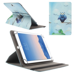 Rotary Universal Leather Cover for iPad Air 2 / Amazon Kindle Fire HD 8.9, Size: 27.5 x 18.5cm - Blue Owl & Clouds