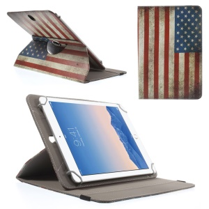 Rotary Universal Leather Shell for iPad Air 2 / Amazon Kindle Fire HD 8.9, Size: 27.5 x 18.5cm - Vintage USA Flag