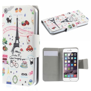 Suction Cup Leather Case for iPhone 5s / Samsung Galaxy A3 SM-A300F - Eiffel Tower and Fruits