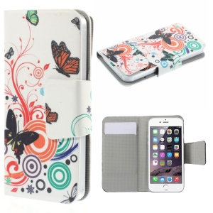 Suction Cup Leather Cover for iPhone 5s / Samsung Galaxy A3 SM-A300F - Butterflies Circles