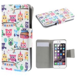 Suction Cup Leather Cover for iPhone 5s / Samsung Galaxy A3 SM-A300F - Cute Owls