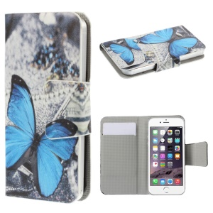 Suction Cup Leather Shell for iPhone 5s / Samsung Galaxy A3 SM-A300F - Blue Butterfly