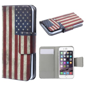 Suction Cup Leather Shell for iPhone 5s / Samsung Galaxy A3 SM-A300F - Retro USA Flag