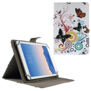 Universal Leather Stand Case for 9-10-inch Tablet PCs, Size: 268 x 178mm - Butterflies Circles