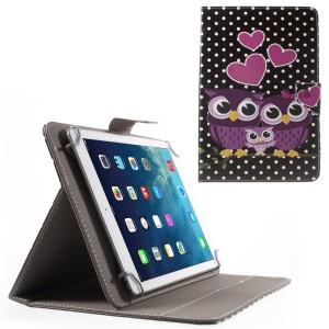 Universal Leather Stand Case for iPad Air 2/Samsung Galaxy Tab 4 10.1, Size: 268 x 177mm - Sweet Owl Family