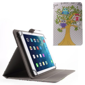 Universal Leather Stand Cover for iPad Air 2/Samsung Galaxy Tab 4 10.1, Size: 268 x 177mm - Owls on the Tree