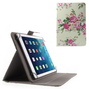 Universal Leather Stand Case for iPad Air 2/Samsung Galaxy Tab 4 10.1, Size: 268 x 177mm - Beautiful Flowers