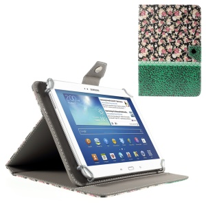 Roses and Green Leopard Stand Leather Case for iPad Air 2 / Galaxy Tab 8.9, Size: 265x175mm