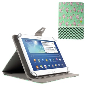 Peony and Chevron Stripes Leather Cover Case for iPad Air 2 / Galaxy Tab 8.9, Size: 265x175mm