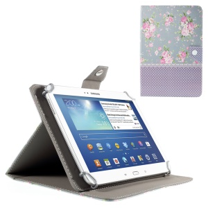 Peony and Purple Dots Leather Protective Case for iPad Air 2 / Galaxy Tab 8.9, Size: 265x175mm
