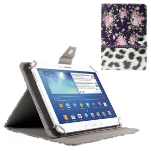 Blooming Peony and Leopard Leather Flip Cover for iPad Air 2 / Galaxy Tab 8.9, Size: 265x175mm
