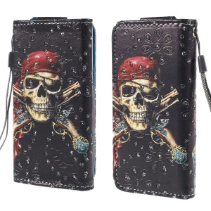 Rhinestone Leather Case for iPhone 4S / Sony Xperia Z3 Compact, Size: 12.8cm x 6.5cm - Pirate Skull