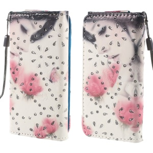Rhinestone Leather Case for iPhone 4S / Sony Xperia Z3 Compact, Size: 12.8cm x 6.5cm - Girl Smelling Flower