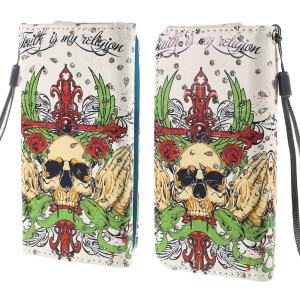Rhinestone Leather Case Shell for iPhone 4S / Sony Xperia Z3 Compact, Size: 12.8cm x 6.5cm - Skull & Folded Hands