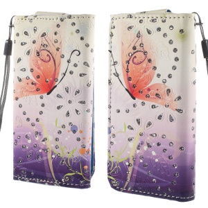 Rhinestone Leather Case for iPhone 4S / Sony Xperia Z3 Compact, Size: 12.8cm x 6.5cm - Butterfly and Grass
