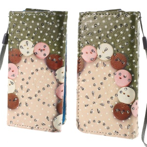 Rhinestone Leather Phone Cover for iPhone 4S / Sony Xperia Z3 Compact, Size: 12.8cm x 6.5cm - Color Balls in Arc
