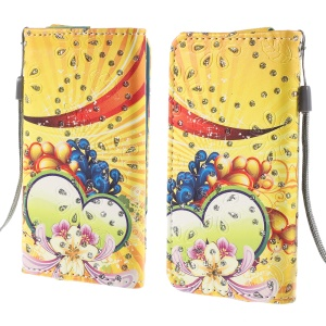 Rhinestone PU Leather Case for iPhone 4S / Sony Xperia Z3 Compact, Size: 12.8cm x 6.5cm - Bright Flower & Heart Shape