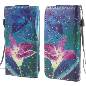 Rhinestone Leather Case for iPhone 4S / Sony Xperia Z3 Compact, Size: 12.8cm x 6.5cm - Flower Illustration