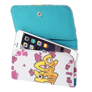 Rose Hearts Leather Wallet Purse Case for iPhone 5s / Galaxy S4 mini I9190, Size: 128 x 65mm