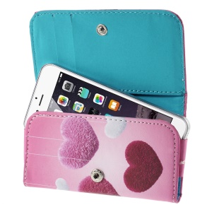 Cute Hearts Leather Case Cover for iPhone 5s / Galaxy S4 mini I9190, Size: 128 x 65mm