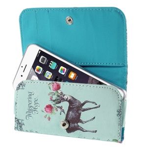 Deer Flowers Leather Phone Case for iPhone 5s / Galaxy S4 mini I9190, Size: 128 x 65mm