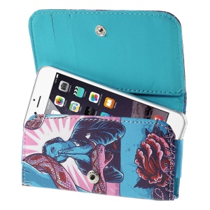 Snake Flower Leather Case Card Slots for iPhone 5s / Galaxy S4 mini I9190, Size: 128 x 65mm