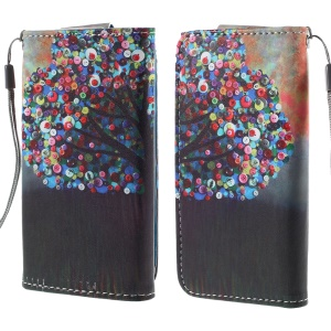 Tree with Colorful Buttons Leather Case Size 12.6x6.2cm for Samsung Galaxy Ace 4 G357/S4 mini I9190/Star 2 Plus G350/Sony Xperia Z3 Compact/iPhone 4s/Alcatel Pop C3