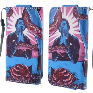 Flower and Snake Leather Case Size 12.6x6.2cm for Samsung Galaxy S4 mini I9190/Sony Xperia Z3 Compact/iPhone 4s/Alcatel Pop C3