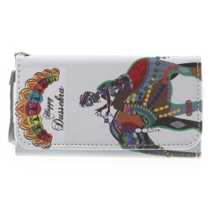 Happy Dussehra Wallet Leather Cover for iPhone 5/5s/Galaxy S5 mini G800, Size: 138 x 70mm