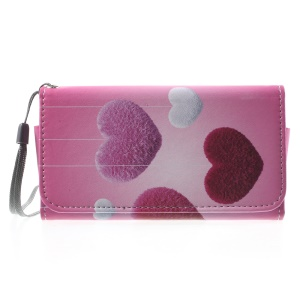 Fluff Hearts Wallet Leather Phone Case for iPhone 5/5s/Galaxy S5 mini G800, Size: 138 x 70mm
