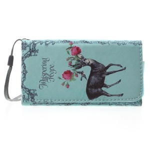 Deer Flowers Wallet Leather Phone Cover for iPhone 5/5s/Galaxy S5 mini G800, Size: 138 x 70mm
