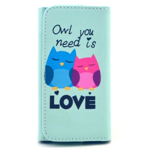 Lover Owls Universal Leather Pouch for iPhone 6 Galaxy S6/S6 edge, Size: 14.4 x 7.5 x 1.5cm