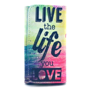 Live the Life you Love Leather Pouch for iPhone 6 Galaxy S6/S6 edge, Size: 14.4 x 7.5 x 1.5cm