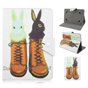 Universal Stand Leather Tablet Case for iPad Air 2 / iPad 2 3 4 - Cute Rabbits on the Boots