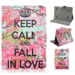 Universal Leather Protective Case for iPad Air 2 / Sony Xperia Z4 Tablet - Keep Calm and Fall In Love