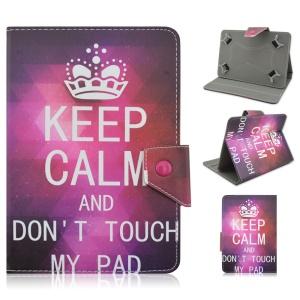 Universal Leather Case Cover for iPad Air 2 / Sony Xperia Z4 Tablet - Quote and Sparkling Crown