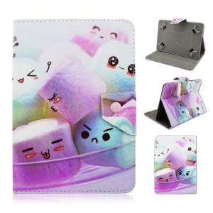 Universal Leather Case Shell for iPad Air 2 / Samsung Tab 4 10.1 T530 - Purple Cute Marshmallows