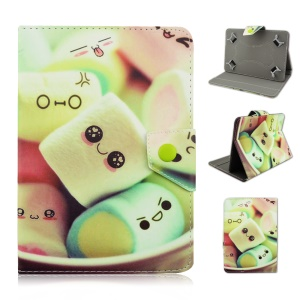 Universal Leather Case Accessory for iPad Air 2 / Samsung Tab 4 10.1 T530 - Green Smile Marshmallows